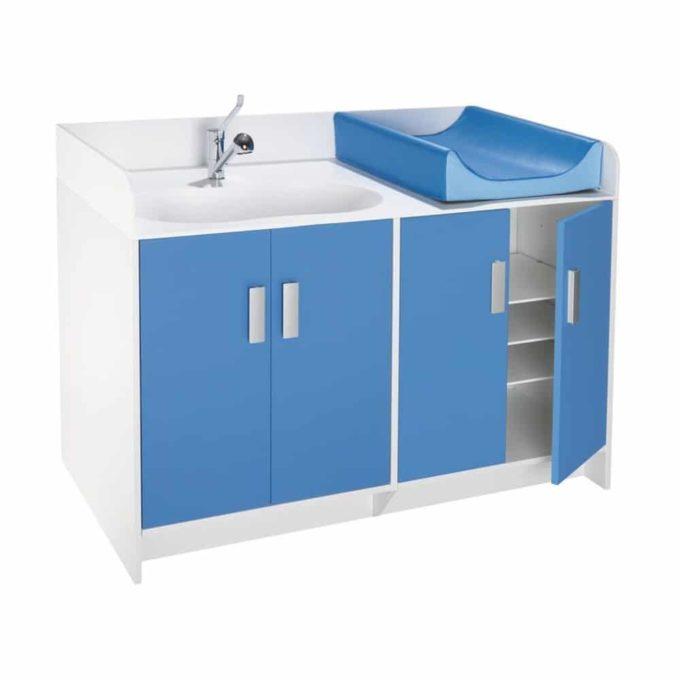 Wickelkommode Kazeo - mit Waschbecken und Türen 1