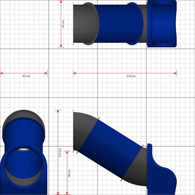 LEDON Röhrenrutsche blau/grau - Starthöhe: 90 cm 2