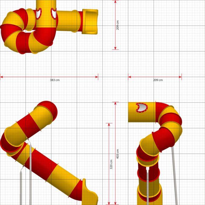 LEDON Röhrenrutsche gelb/rot - Starthöhe: 320 cm 2
