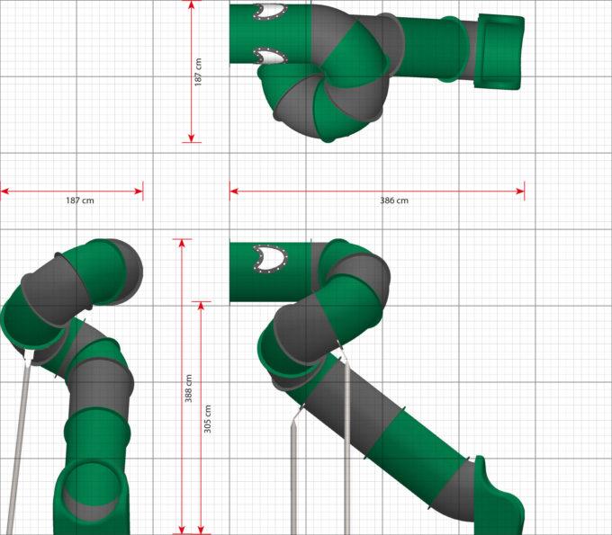 LEDON Röhrenrutsche grün/grau - Starthöhe: 305 cm 2