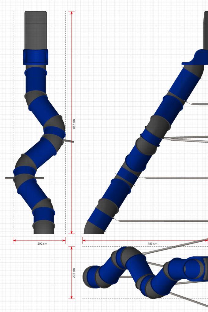 LEDON Röhrenrutsche blau/grau - Starthöhe: 400 cm 2