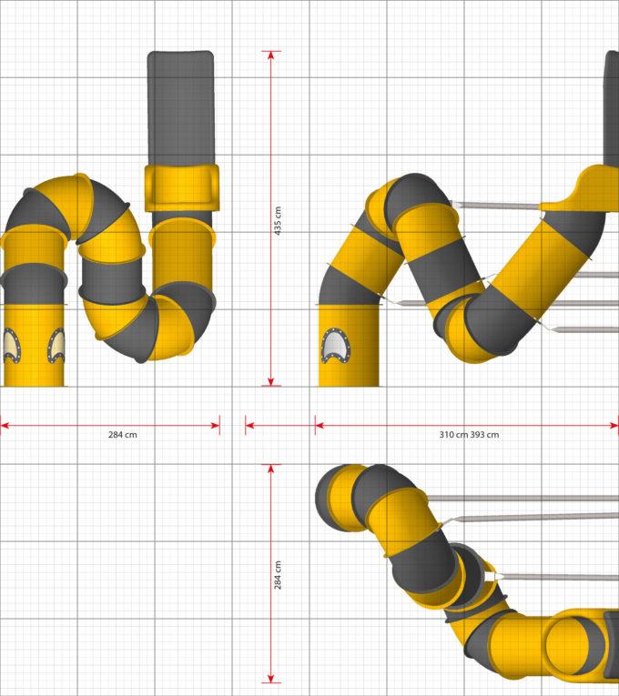 LEDON Röhrenrutsche gelb/grau - Starthöhe: 310 cm 2