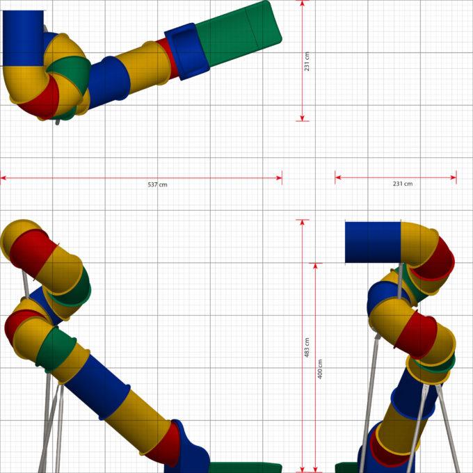 LEDON Röhrenrutsche bunt - Starthöhe: 400 cm 2