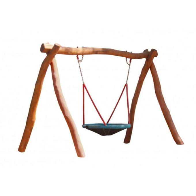 Vogelnest-Schaukelgestell aus Robinien-Holz mit Sitz und Stahlankern 1