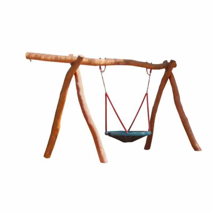 Vogelnest-Schaukelgestell aus Robinien-Holz mit Sitz, Stahlankern und Überstand 1
