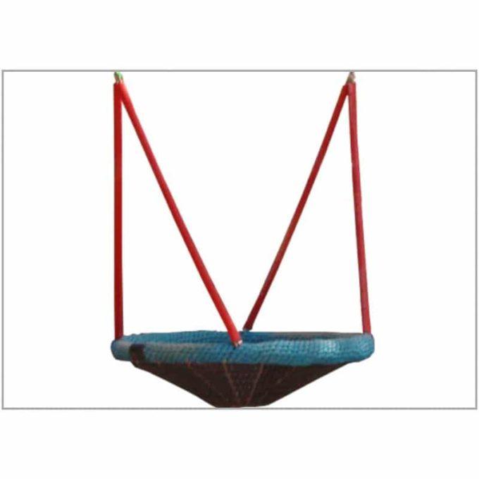 Mini-Vogelnest-Schaukel aus Robinien-Holz mit Stahllaschen + Vogelnestkorb Ø 90 cm 4