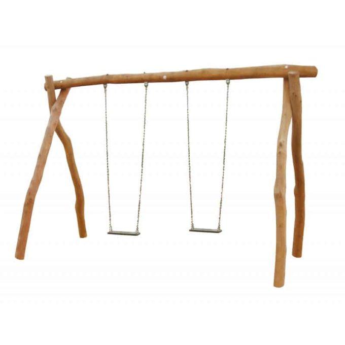 2-Platz Schaukelgestell mit Sitzen aus Robinien-Holz 1