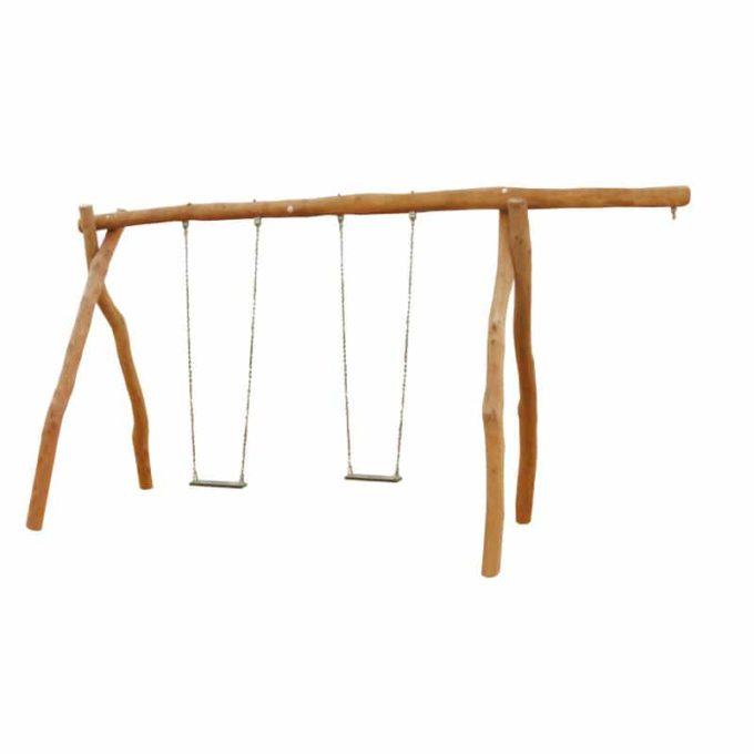 2-Platz Schaukelgestell mit Sitzen und Überstand aus Robinien-Holz 1