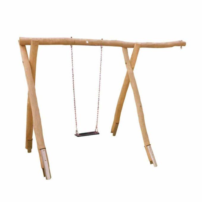 1-Platz Schaukelgestell mit Sitz, Stahlankern und Überstand aus Robinien-Holz 1