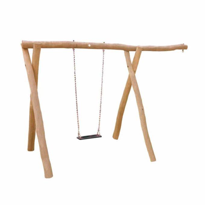 1-Platz Schaukelgestell mit Sitz und Überstand aus Robinien-Holz 1