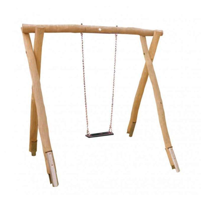 1-Platz Schaukelgestell mit Sitz und Stahlankern aus Robinien-Holz 1