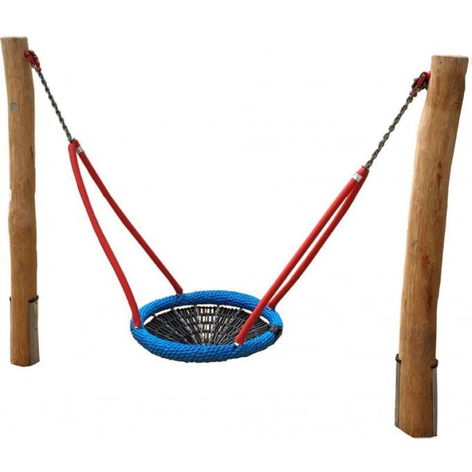 Mini-Vogelnest-Schaukel aus Robinien-Holz mit Stahllaschen + Vogelnestkorb Ø 90 cm 1