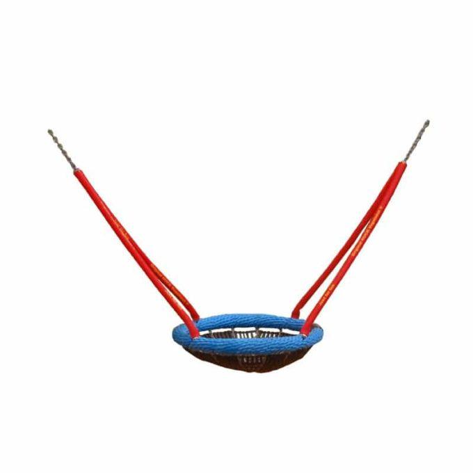 Mini-Vogelnest-Schaukel aus Robinien-Holz mit Stahllaschen + Vogelnestkorb Ø 90 cm 7