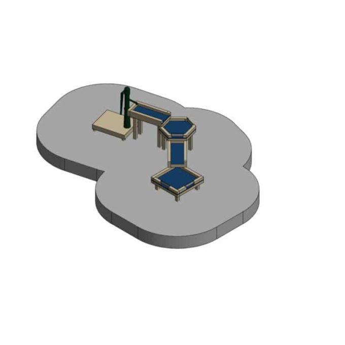 Wasserspielanlage aus Robinien-Holz - mit 4 Matschtischen und Pumpenpodest 2