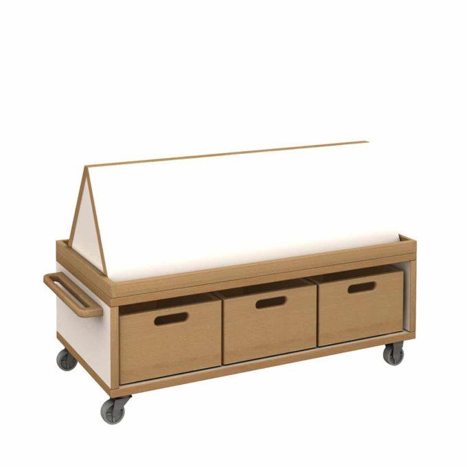 De Breuyn Materialwagen flach mit Bücheraufsatz und 3 Kisten 1