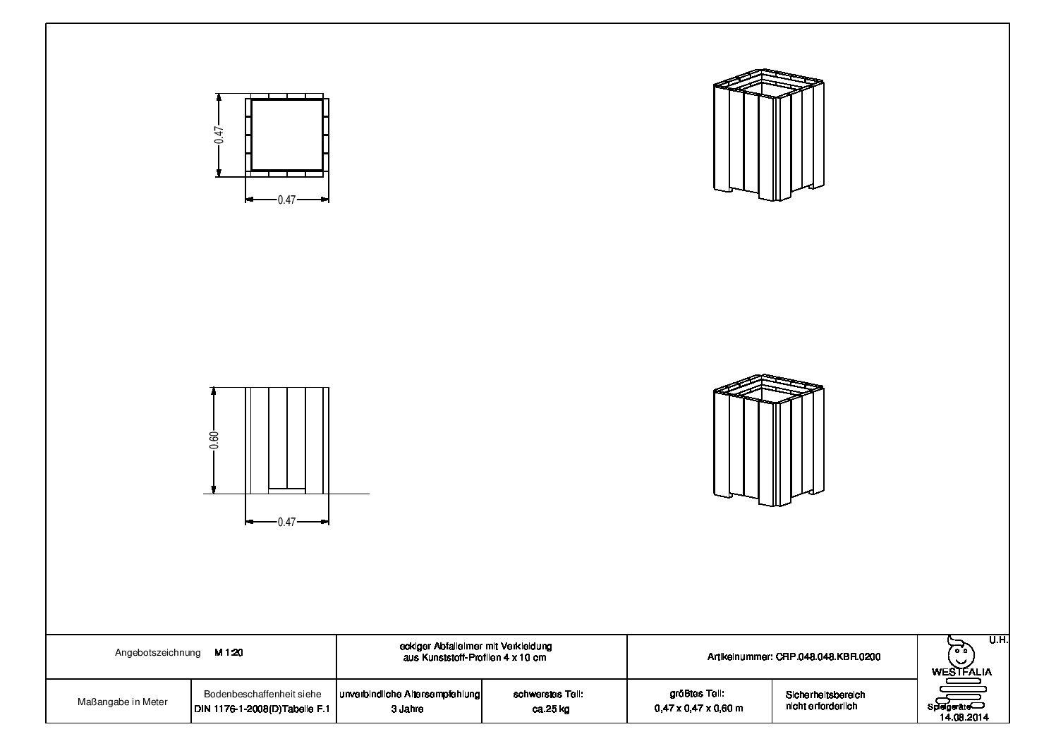 WESTFALIA Abfallbehälter 50 L 2